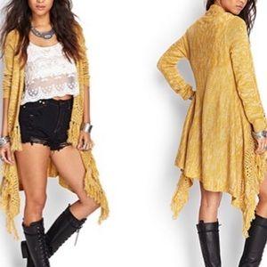 Forever 21 Mustard Yellow Fringe Sweater Cardigan